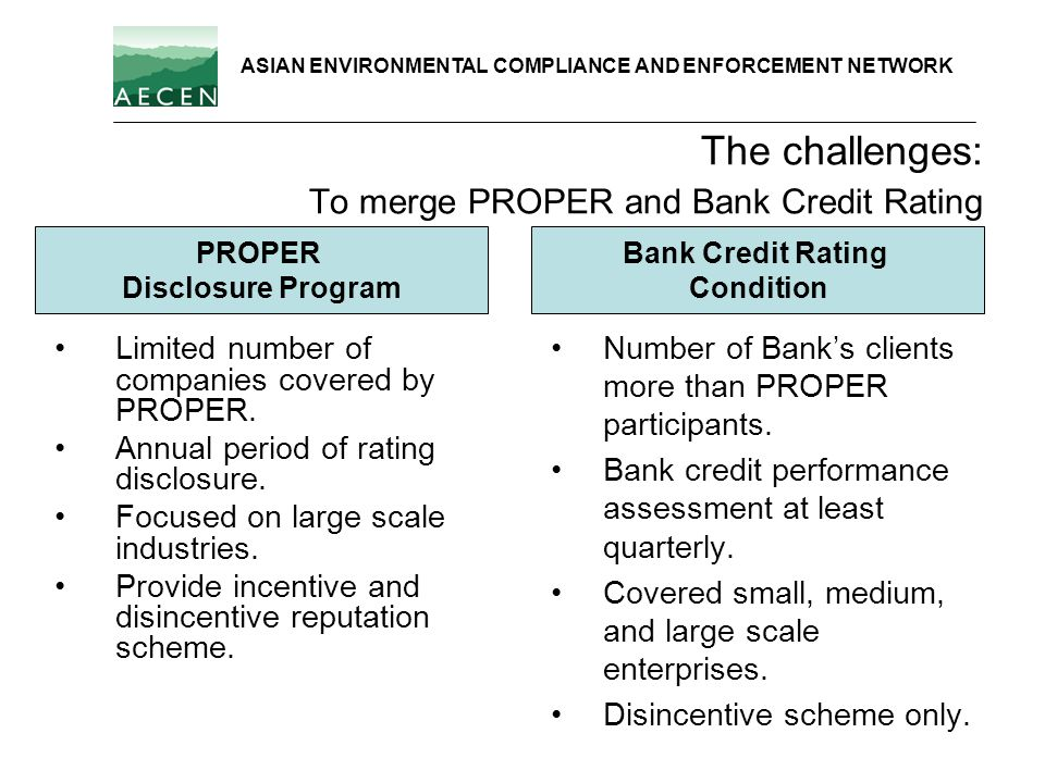 The challenges: To merge PROPER and Bank Credit Rating Limited number of companies covered by PROPER. Annual period of rating disclosure. Focused on l