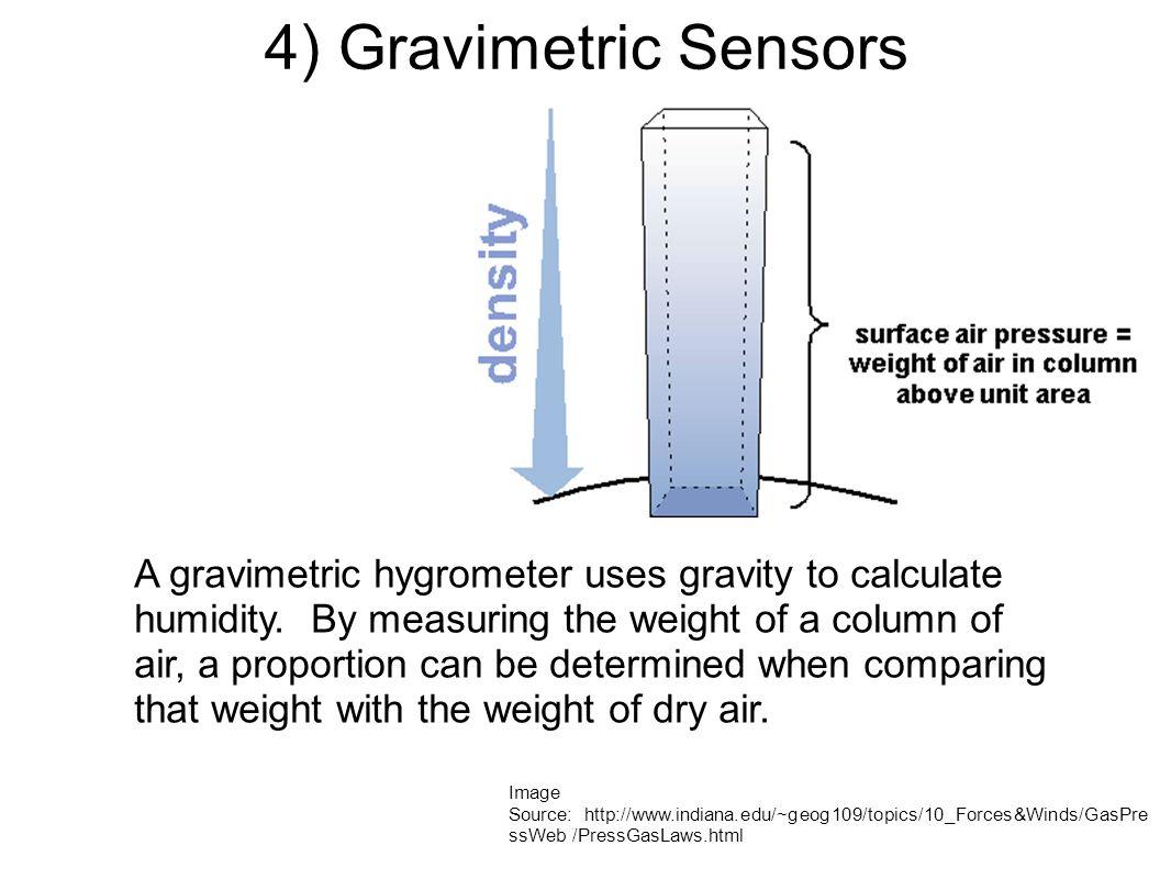 4) Gravimetric Sensors Image Source: http://www.indiana.edu/~geog109/topics/10_Forces&Winds/GasPre ssWeb /PressGasLaws.html A gravimetric hygrometer uses gravity to calculate humidity.