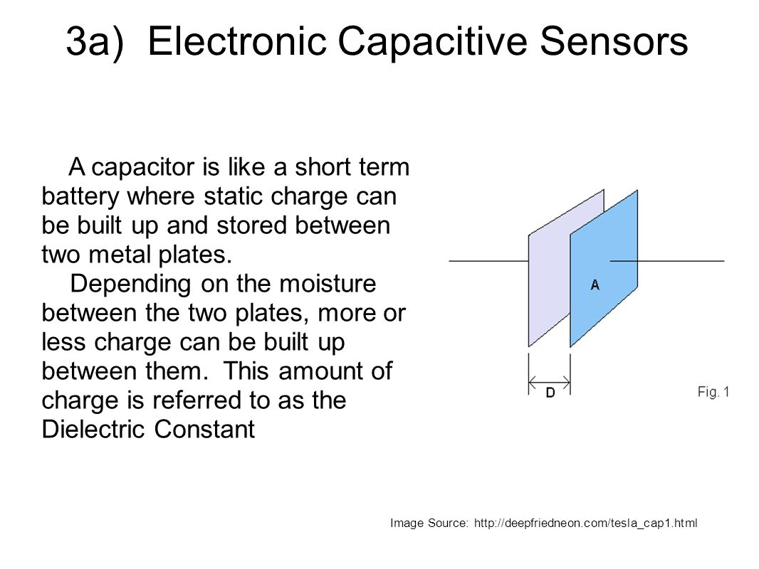 3a) Electronic Capacitive Sensors A capacitor is like a short term battery where static charge can be built up and stored between two metal plates.
