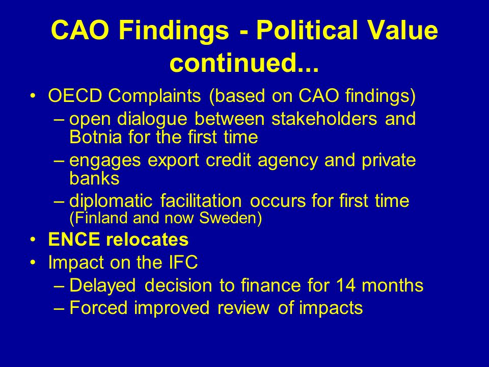 CAO Findings - Political Value continued...