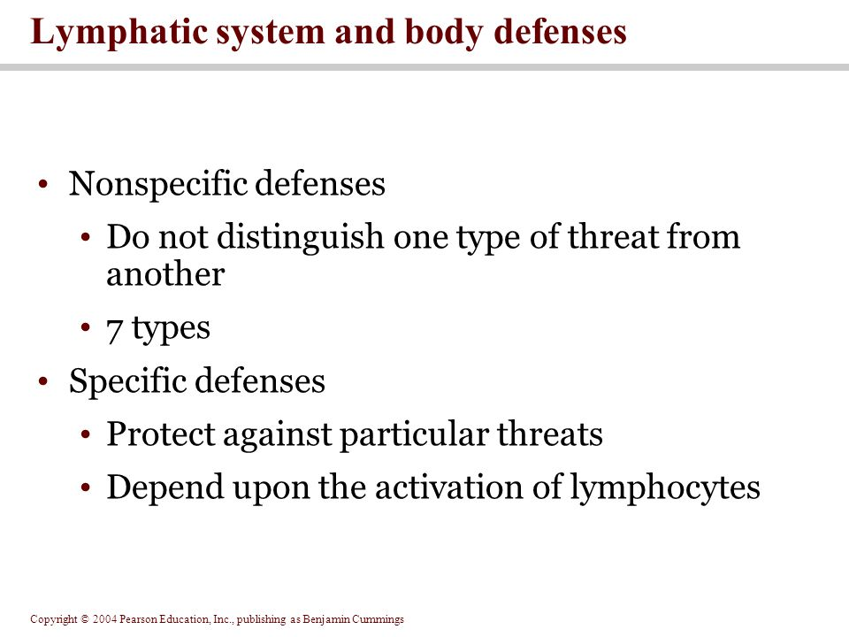 Copyright © 2004 Pearson Education, Inc., publishing as Benjamin Cummings Nonspecific defenses Do not distinguish one type of threat from another 7 types Specific defenses Protect against particular threats Depend upon the activation of lymphocytes Lymphatic system and body defenses