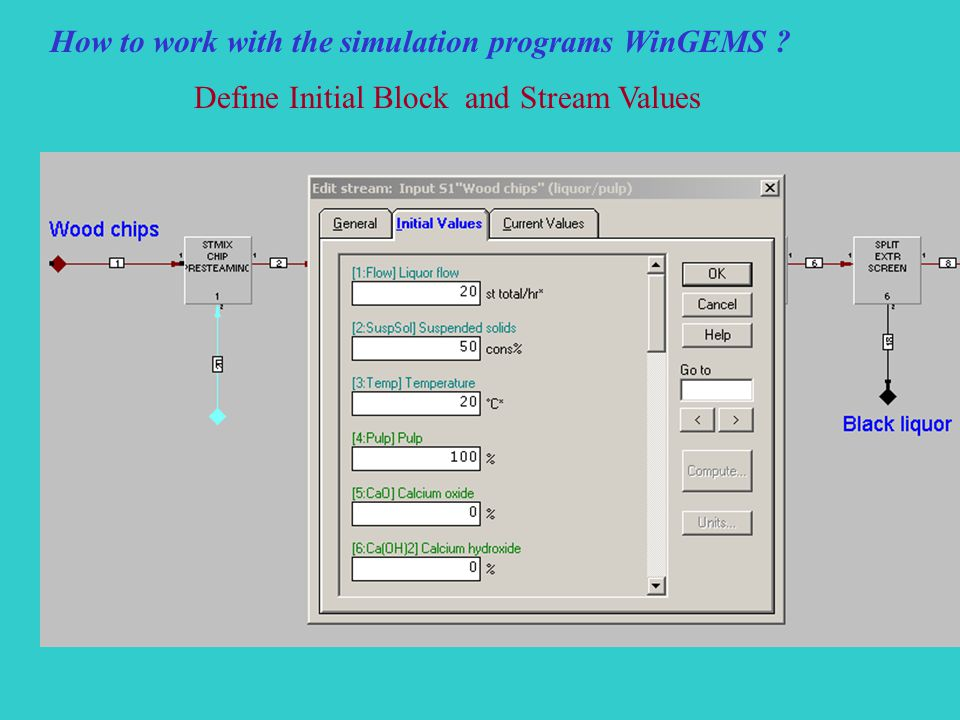 How to work with the simulation programs WinGEMS Define Initial Block and Stream Values