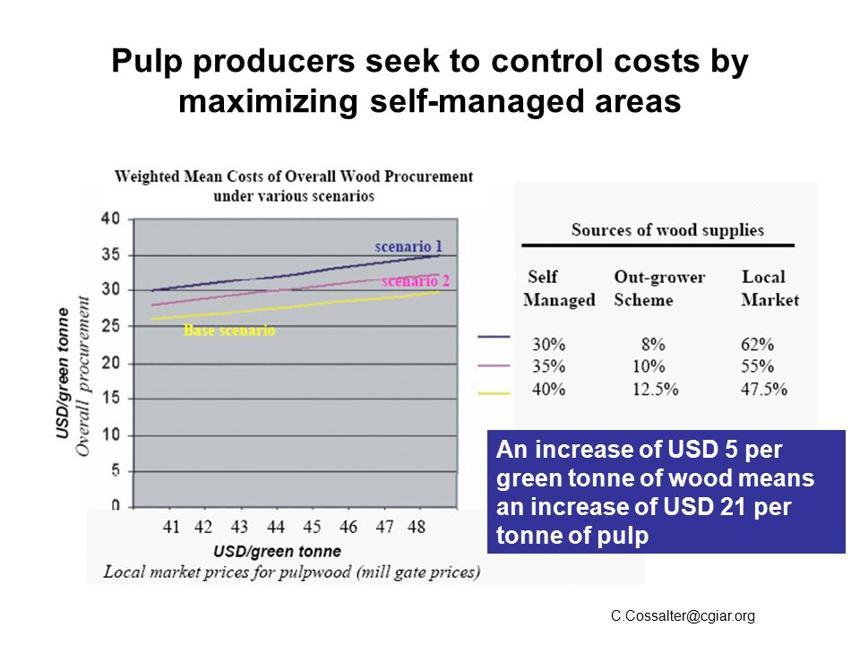 Pulp producers seek to control costs by maximizing self-managed areas C.Cossalter@cgiar.org An increase of USD 5 per green tonne of wood means an increase of USD 21 per tonne of pulp