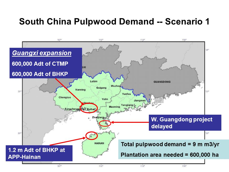South China Pulpwood Demand -- Scenario 1 1.2 m Adt of BHKP at APP-Hainan Guangxi expansion 600,000 Adt of CTMP 600,000 Adt of BHKP W.