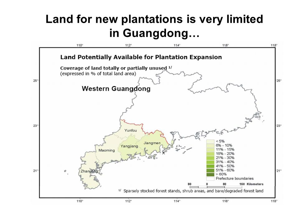 Land for new plantations is very limited in Guangdong…
