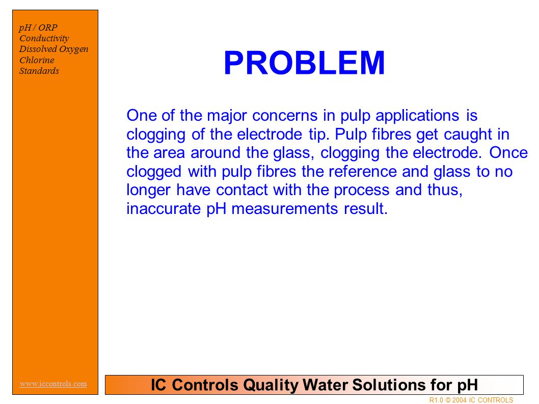IC Controls Quality Water Solutions for pH www.iccontrols.com pH / ORP Conductivity Dissolved Oxygen Chlorine Standards R1.0 © 2004 IC CONTROLS PROBLE