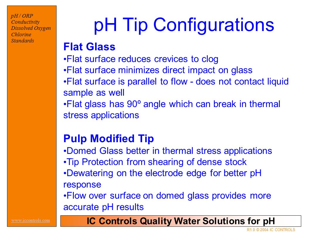 IC Controls Quality Water Solutions for pH www.iccontrols.com pH / ORP Conductivity Dissolved Oxygen Chlorine Standards R1.0 © 2004 IC CONTROLS Flat Glass Flat surface reduces crevices to clog Flat surface minimizes direct impact on glass Flat surface is parallel to flow - does not contact liquid sample as well Flat glass has 90º angle which can break in thermal stress applications Pulp Modified Tip Domed Glass better in thermal stress applications Tip Protection from shearing of dense stock Dewatering on the electrode edge for better pH response Flow over surface on domed glass provides more accurate pH results pH Tip Configurations