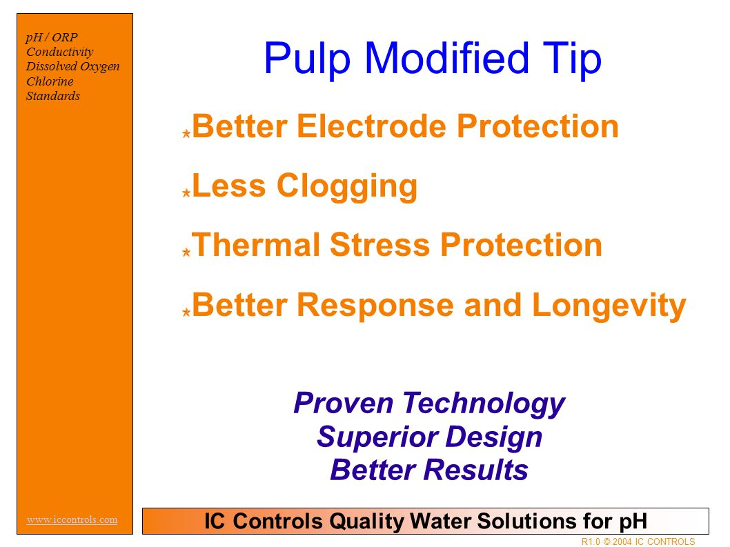 IC Controls Quality Water Solutions for pH www.iccontrols.com pH / ORP Conductivity Dissolved Oxygen Chlorine Standards R1.0 © 2004 IC CONTROLS Better Electrode Protection Less Clogging Thermal Stress Protection Better Response and Longevity Proven Technology Superior Design Better Results Pulp Modified Tip