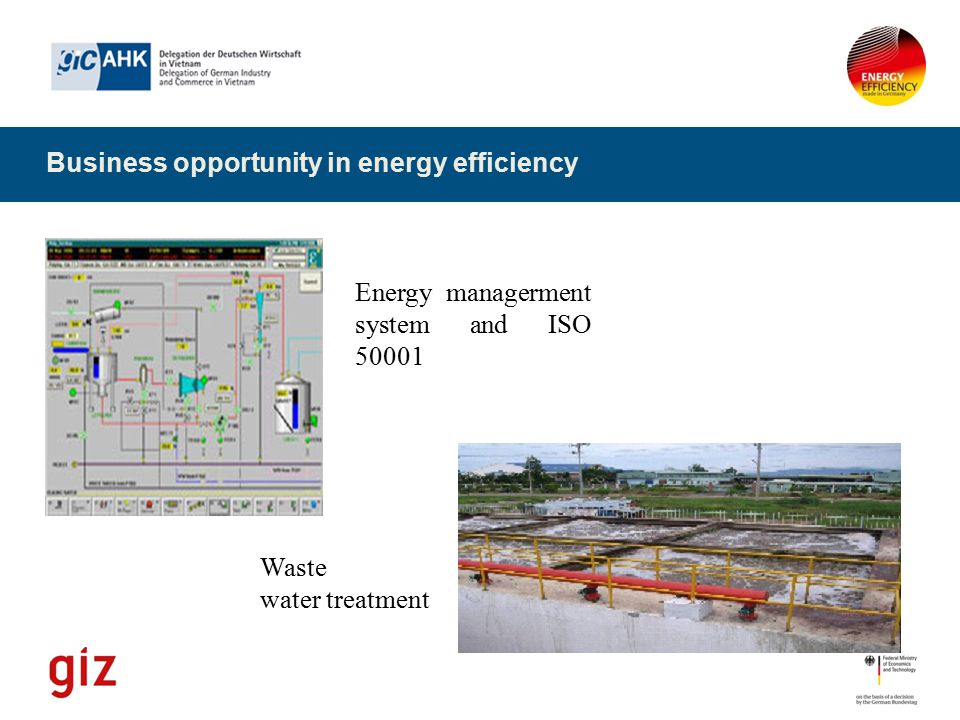 Business opportunity in energy efficiency Energy managerment system and ISO 50001 Waste water treatment