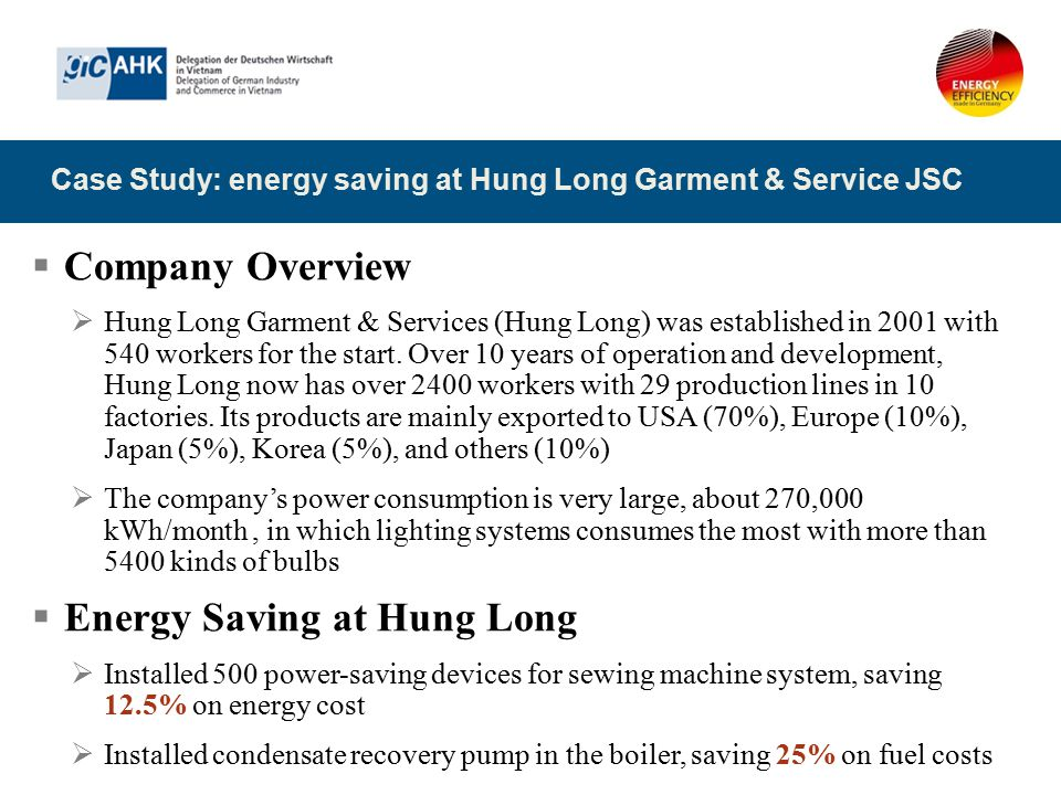 Case Study: energy saving at Hung Long Garment & Service JSC  Company Overview  Hung Long Garment & Services (Hung Long) was established in 2001 wit