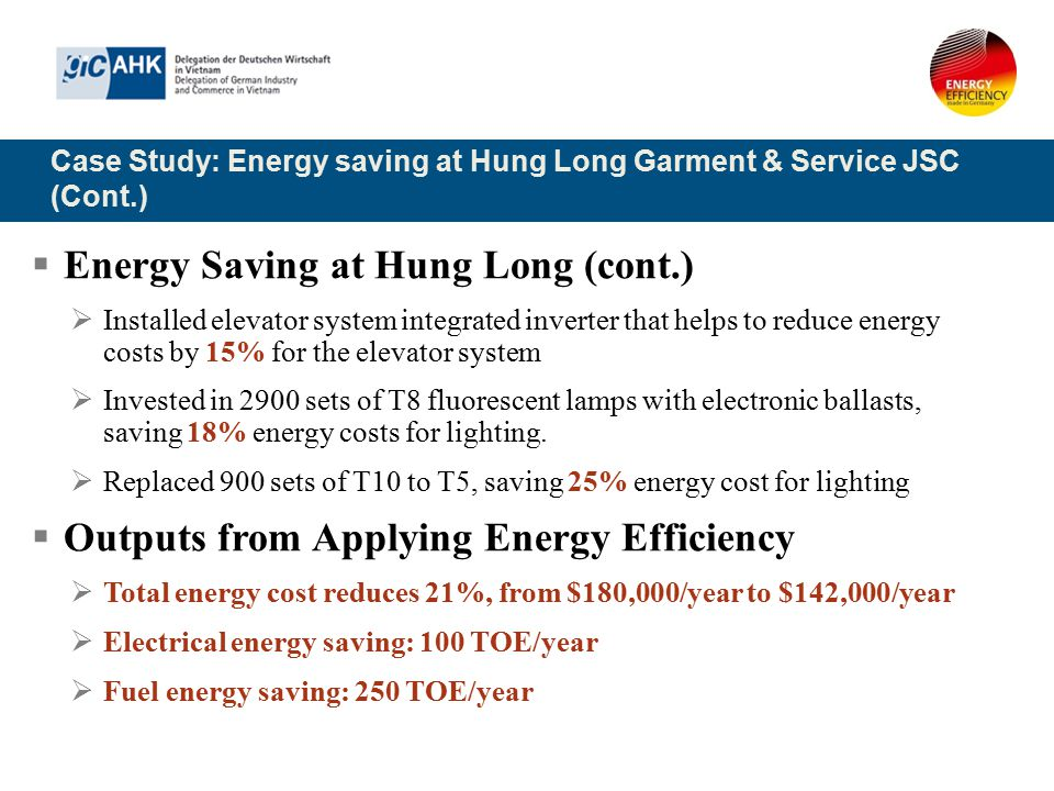 Case Study: Energy saving at Hung Long Garment & Service JSC (Cont.)  Energy Saving at Hung Long (cont.)  Installed elevator system integrated inver