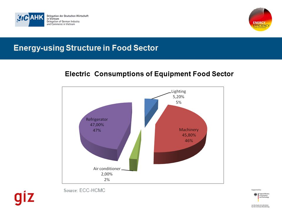 Energy-using Structure in Food Sector Source: ECC-HCMC Electric Consumptions of Equipment Food Sector