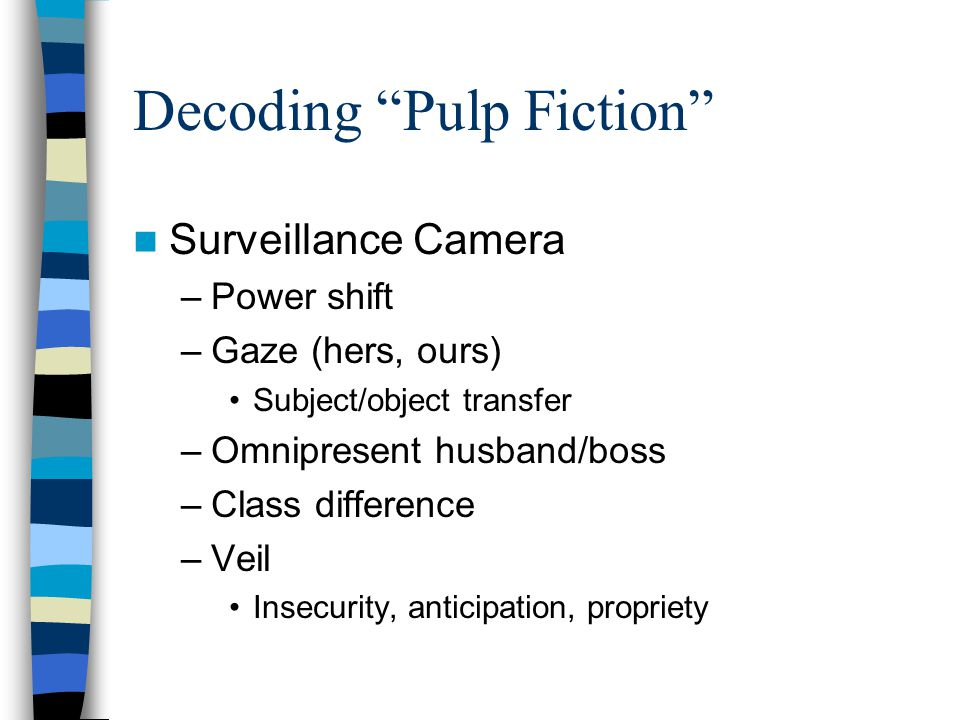 Decoding Pulp Fiction Surveillance Camera –Power shift –Gaze (hers, ours) Subject/object transfer –Omnipresent husband/boss –Class difference –Veil Insecurity, anticipation, propriety