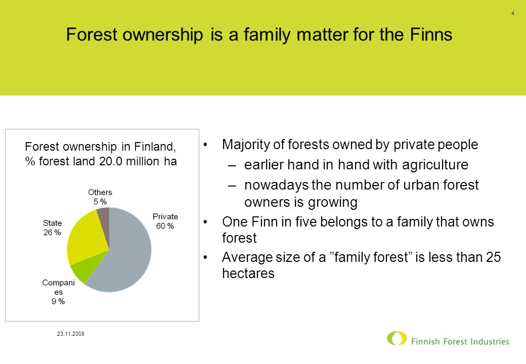 23.11.2008 4 Forest ownership is a family matter for the Finns Majority of forests owned by private people –earlier hand in hand with agriculture –nowadays the number of urban forest owners is growing One Finn in five belongs to a family that owns forest Average size of a family forest is less than 25 hectares Forest ownership in Finland, % forest land 20.0 million ha