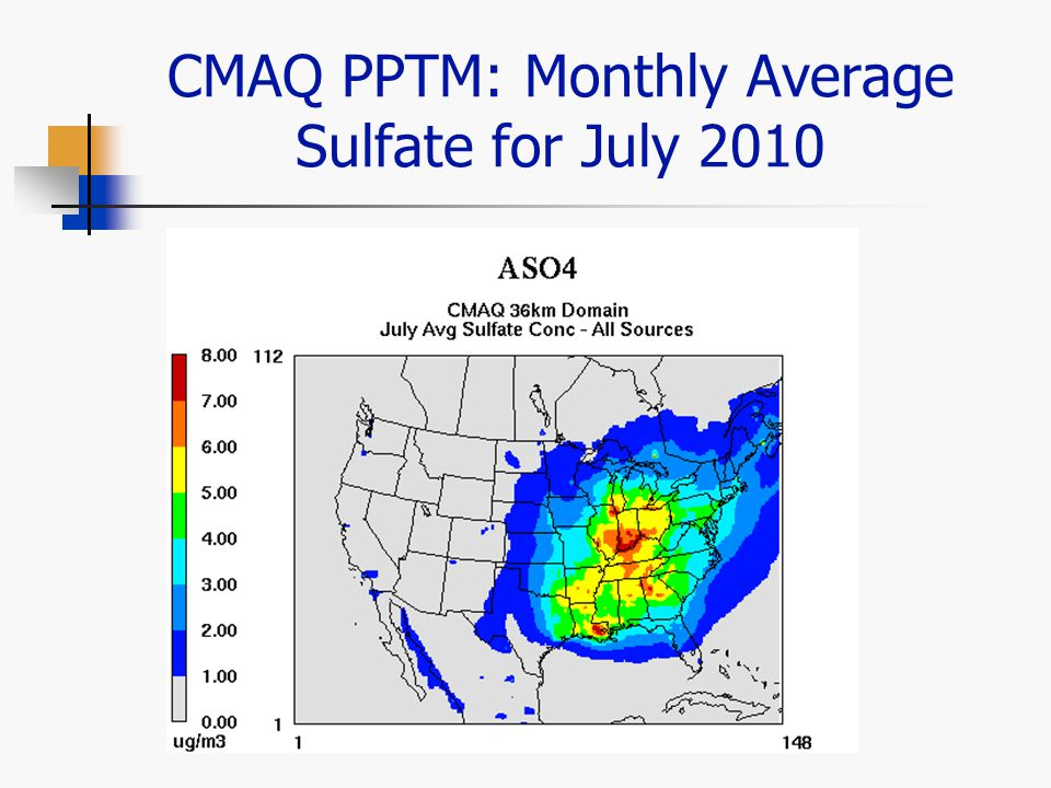 CMAQ PPTM: Monthly Average Sulfate for July 2010
