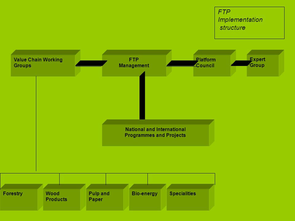 Platform Council Value Chain Working Groups FTP Management National and International Programmes and Projects Expert Group ForestryWood Products Pulp and Paper Bio-energySpecialities FTP Implementation structure