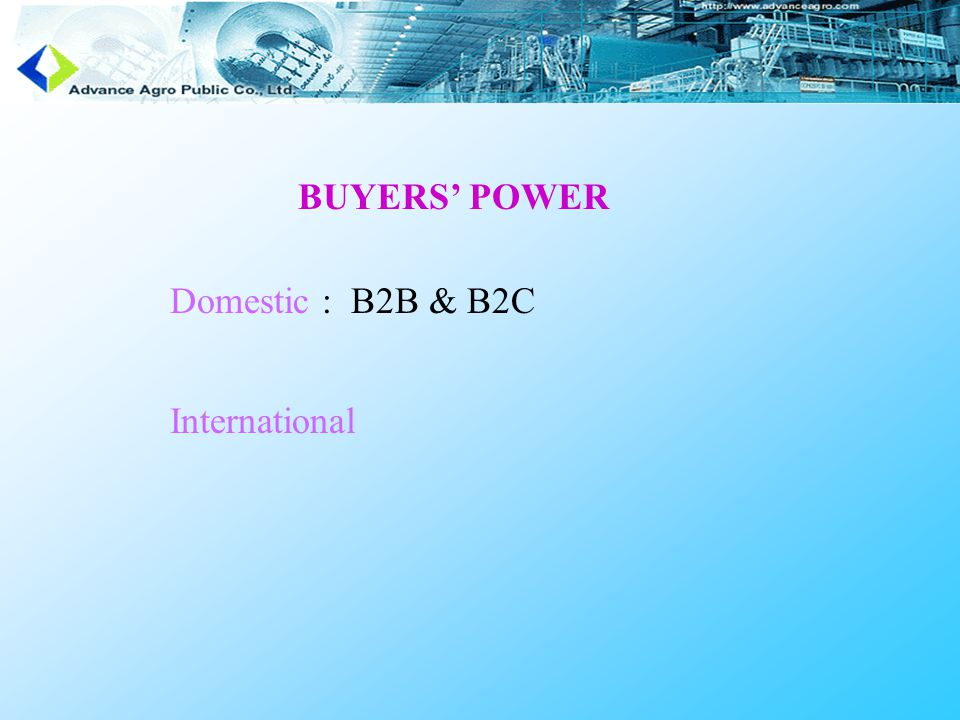 BUYERS' POWER Domestic : B2B & B2C International