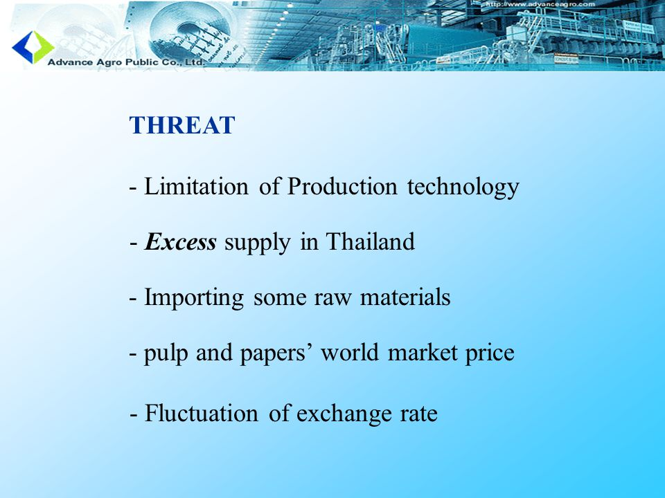 THREAT - Limitation of Production technology - Excess supply in Thailand - Importing some raw materials - pulp and papers' world market price - Fluctuation of exchange rate