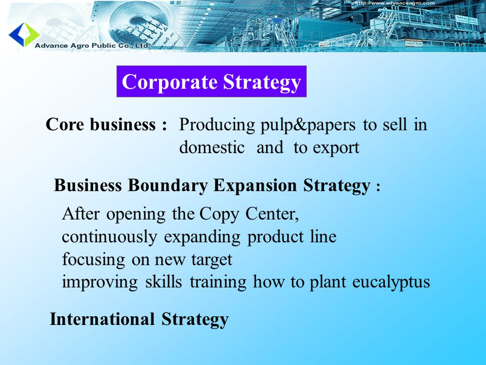 Corporate Strategy Core business :Producing pulp&papers to sell in domestic and to export After opening the Copy Center, continuously expanding product line focusing on new target improving skills training how to plant eucalyptus International Strategy Business Boundary Expansion Strategy :