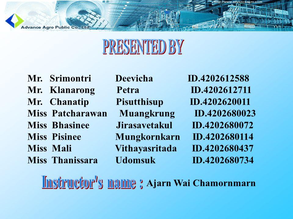 Mr. Srimontri Deevicha ID.4202612588 Mr. Klanarong Petra ID.4202612711 Mr.