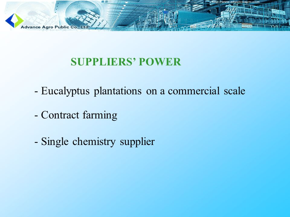 SUPPLIERS' POWER - Eucalyptus plantations on a commercial scale - Contract farming - Single chemistry supplier