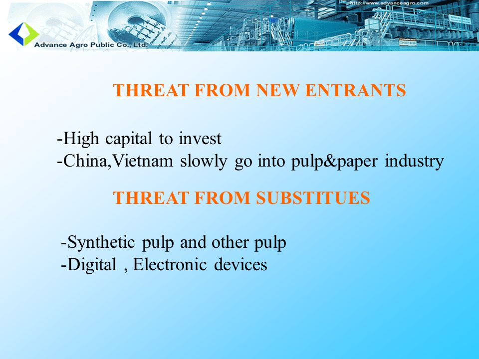 THREAT FROM NEW ENTRANTS -High capital to invest -China,Vietnam slowly go into pulp&paper industry THREAT FROM SUBSTITUES -Synthetic pulp and other pulp -Digital, Electronic devices