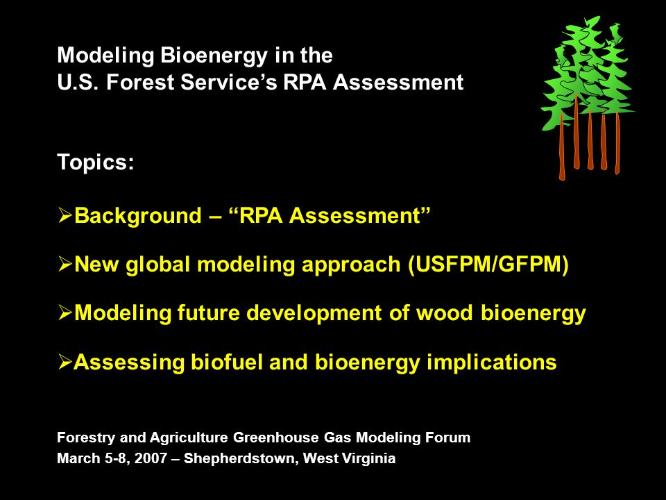 In USFPM/GFPM the growth and development of wood products is determined by their cost competitiveness and profitability In USFPM/GFPM, biofuels and bioenergy uses will compete for wood raw materials (such as pulpwood) versus other conventional wood products, like pulp & paper or OSB (oriented strand-board)