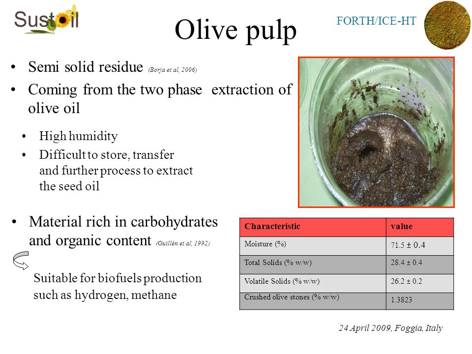 FORTH/ICE-HT Olive pulp Semi solid residue (Borja et al, 2006) Coming from the two phase extraction of olive oil High humidity Difficult to store, transfer and further process to extract the seed oil Material rich in carbohydrates and organic content (Guillén et al, 1992) Suitable for biofuels production such as hydrogen, methane Characteristicvalue Moisture (%) 71.5 ± 0.4 Total Solids (% w/w)28.4 ± 0.4 Volatile Solids (% w/w)26.2 ± 0.2 Crushed olive stones (% w/w) 1.3823 24 April 2009, Foggia, Italy