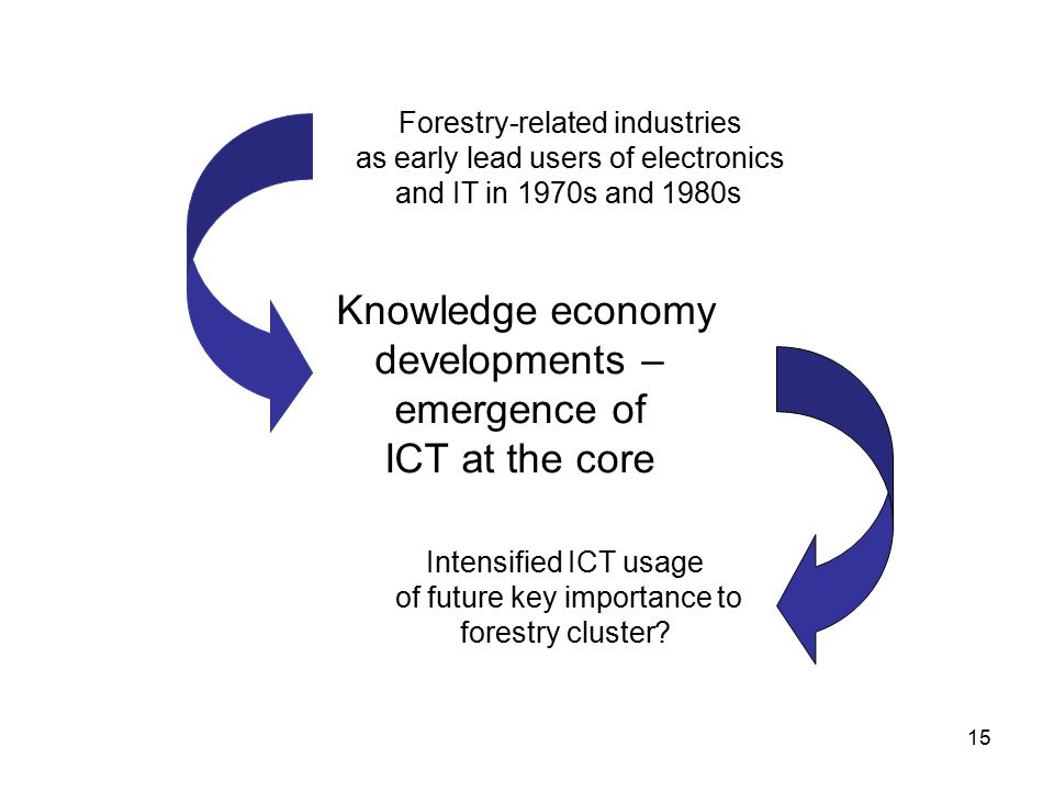 15 Knowledge economy developments – emergence of ICT at the core Forestry-related industries as early lead users of electronics and IT in 1970s and 1980s Intensified ICT usage of future key importance to forestry cluster