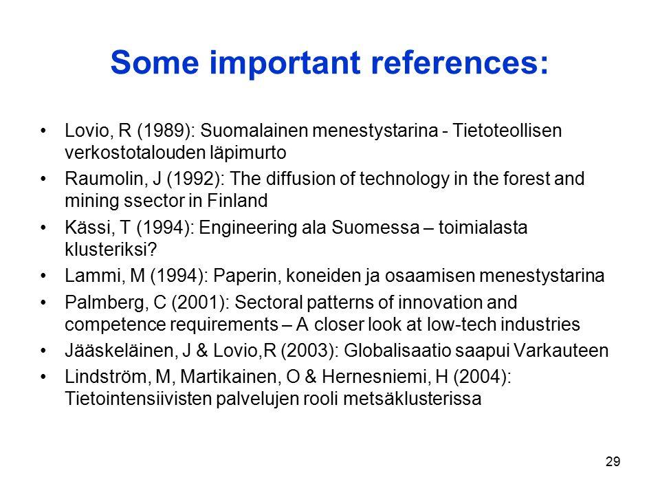 29 Some important references: Lovio, R (1989): Suomalainen menestystarina - Tietoteollisen verkostotalouden läpimurto Raumolin, J (1992): The diffusio
