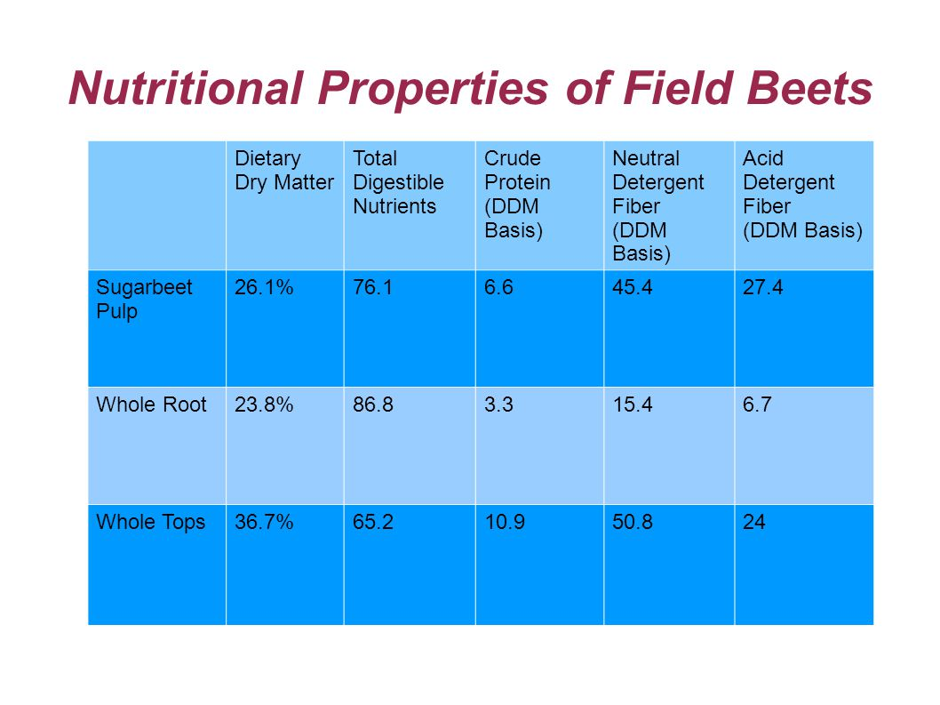 Nutritional Properties of Field Beets Dietary Dry Matter Total Digestible Nutrients Crude Protein (DDM Basis) Neutral Detergent Fiber (DDM Basis) Acid Detergent Fiber (DDM Basis) Sugarbeet Pulp 26.1%76.16.645.427.4 Whole Root23.8%86.83.315.46.7 Whole Tops36.7%65.210.950.824