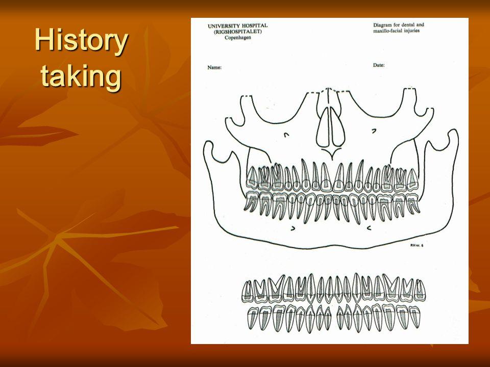 1. 병력의 수집 (History taking) 2. 임상검사 (Clinical Exam) 구강 외 검사 (Extra-oral Exam) 구강 외 검사 (Extra-oral Exam) 구강 내 검사 (Intra-oral Exam) 구강 내 검사 (Intra-oral E
