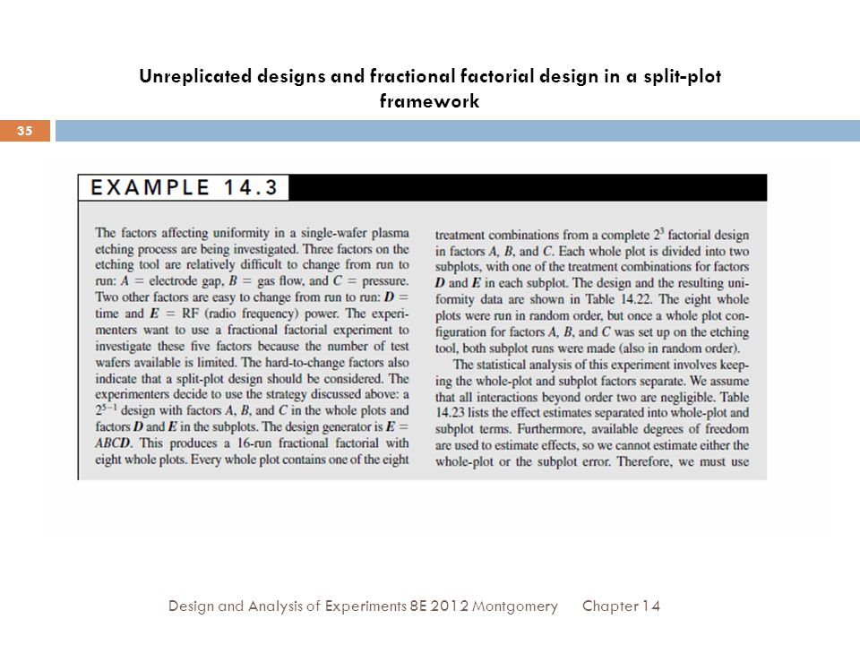 Chapter 14Design and Analysis of Experiments 8E 2012 Montgomery 35 Unreplicated designs and fractional factorial design in a split-plot framework