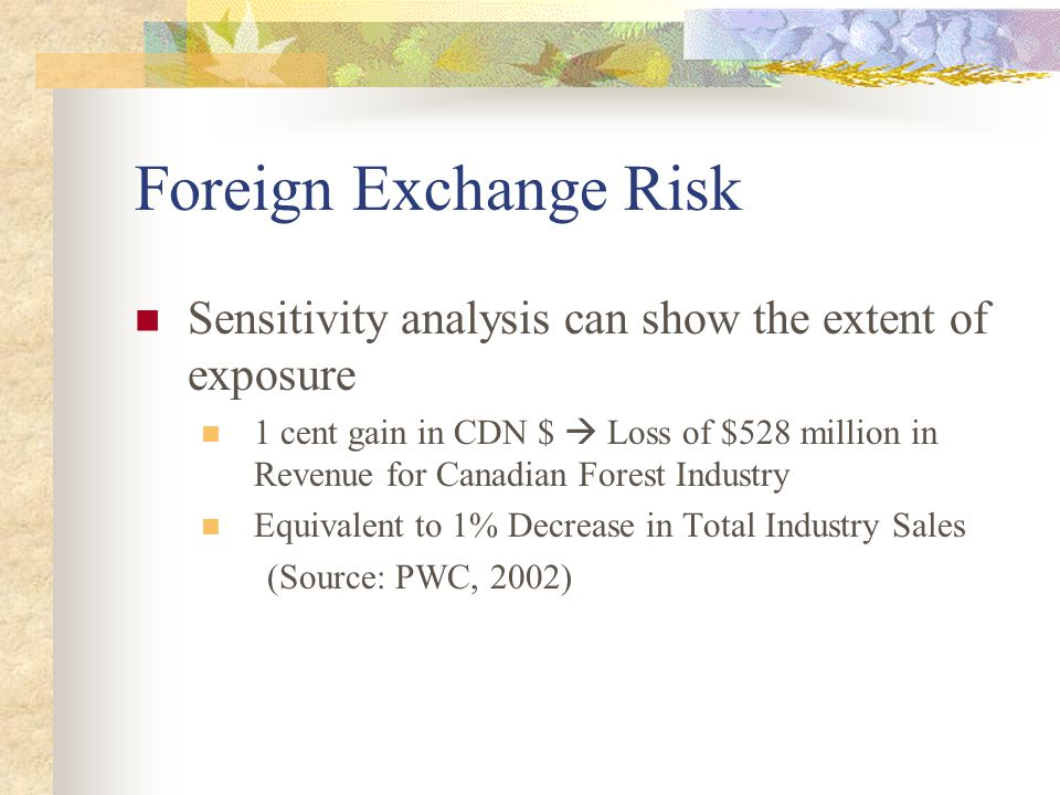 Foreign Exchange Risk Sensitivity analysis can show the extent of exposure 1 cent gain in CDN $  Loss of $528 million in Revenue for Canadian Forest