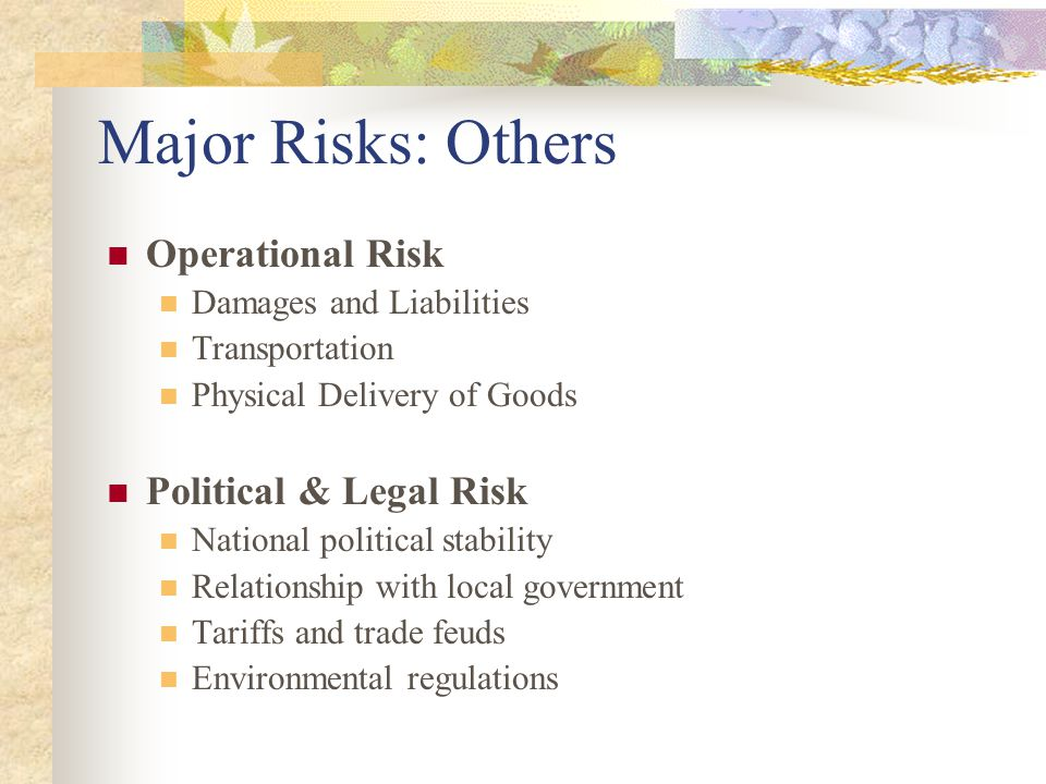 Major Risks: Others Operational Risk Damages and Liabilities Transportation Physical Delivery of Goods Political & Legal Risk National political stability Relationship with local government Tariffs and trade feuds Environmental regulations