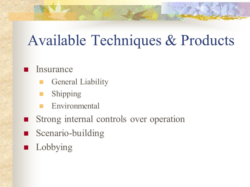 Available Techniques & Products Insurance General Liability Shipping Environmental Strong internal controls over operation Scenario-building Lobbying