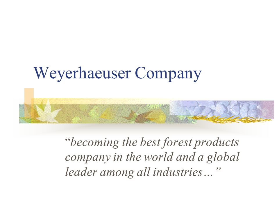 "Weyerhaeuser Company ""becoming the best forest products company in the world and a global leader among all industries…"""