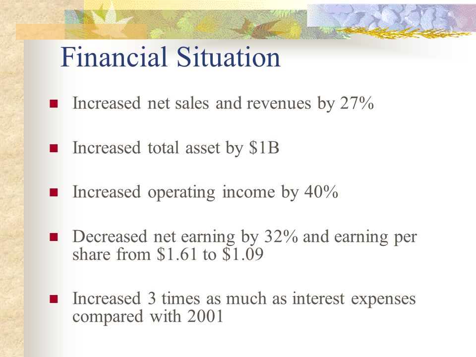 Financial Situation Increased net sales and revenues by 27% Increased total asset by $1B Increased operating income by 40% Decreased net earning by 32% and earning per share from $1.61 to $1.09 Increased 3 times as much as interest expenses compared with 2001