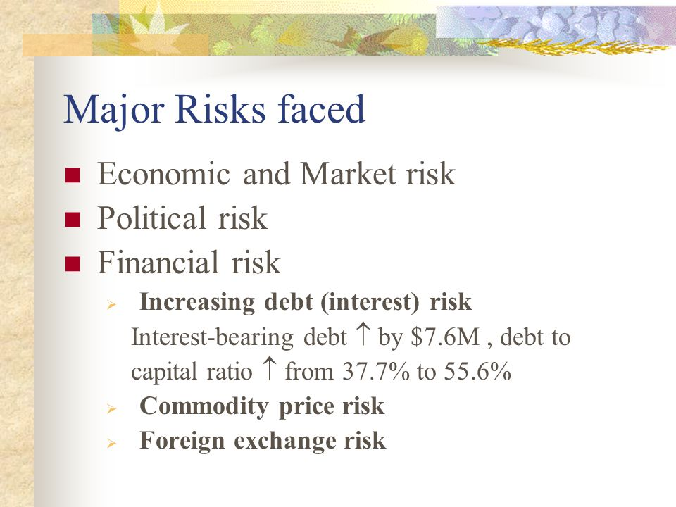 Major Risks faced Economic and Market risk Political risk Financial risk  Increasing debt (interest) risk Interest-bearing debt  by $7.6M, debt to c