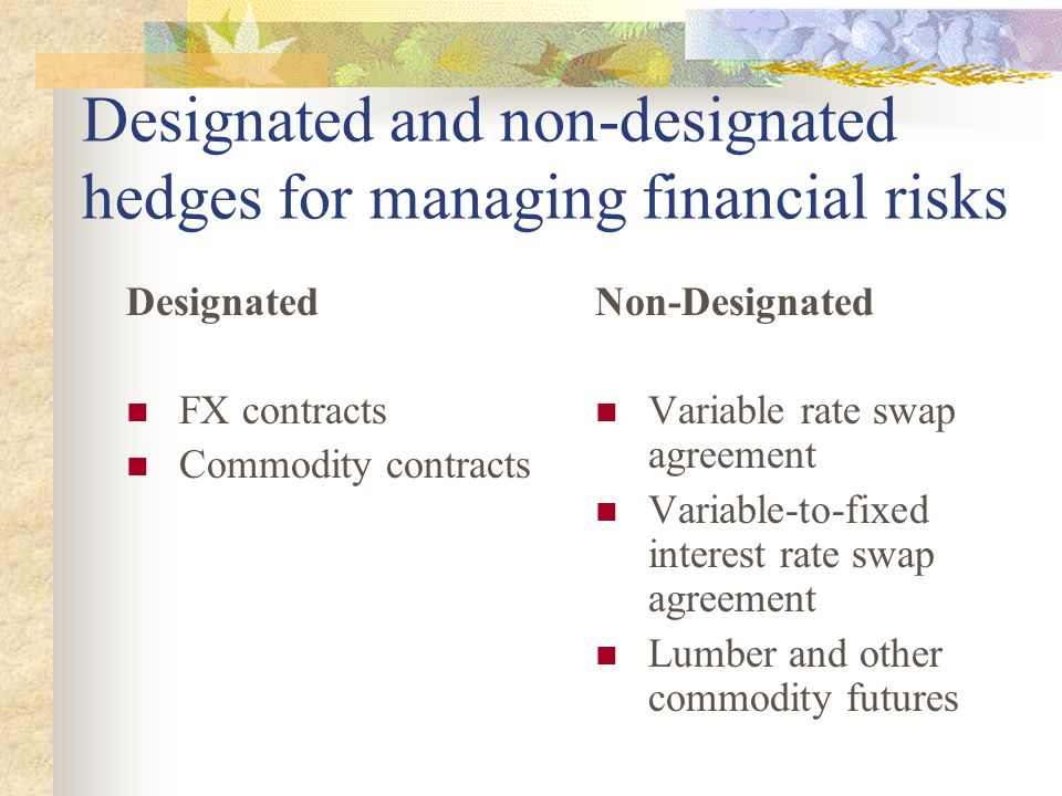 Designated and non-designated hedges for managing financial risks Designated FX contracts Commodity contracts Non-Designated Variable rate swap agreement Variable-to-fixed interest rate swap agreement Lumber and other commodity futures