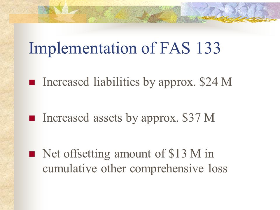 Implementation of FAS 133 Increased liabilities by approx. $24 M Increased assets by approx. $37 M Net offsetting amount of $13 M in cumulative other