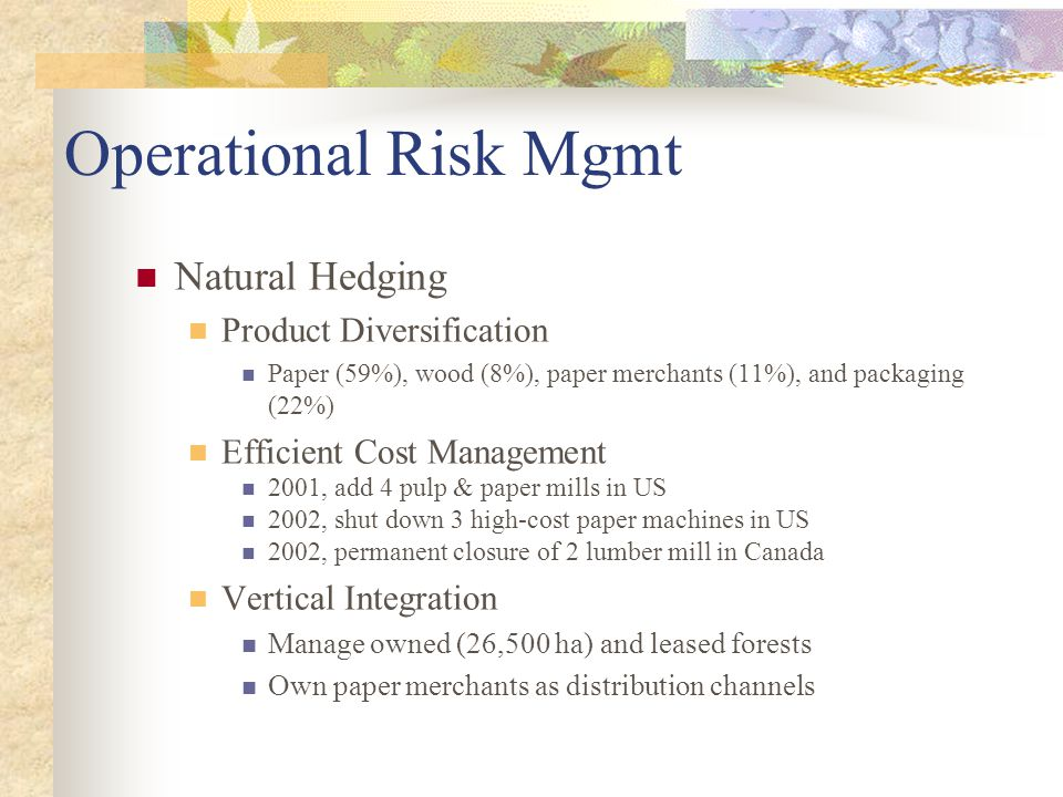 Operational Risk Mgmt Natural Hedging Product Diversification Paper (59%), wood (8%), paper merchants (11%), and packaging (22%) Efficient Cost Manage