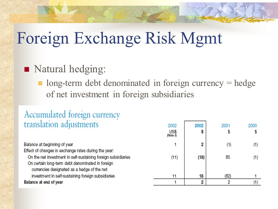 Foreign Exchange Risk Mgmt Natural hedging: long-term debt denominated in foreign currency = hedge of net investment in foreign subsidiaries