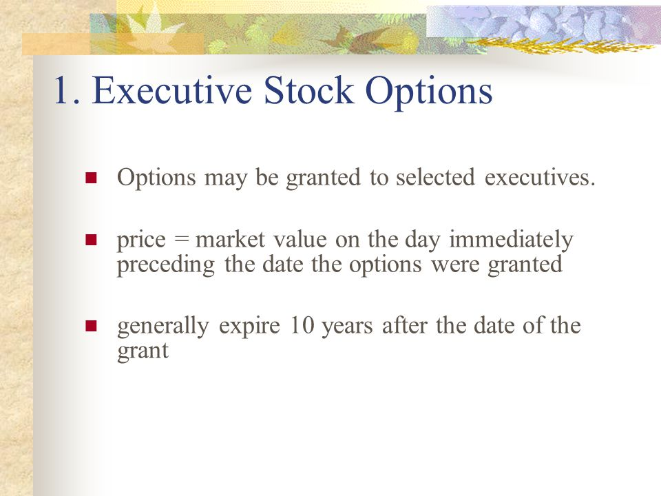 1.Executive Stock Options Options may be granted to selected executives.