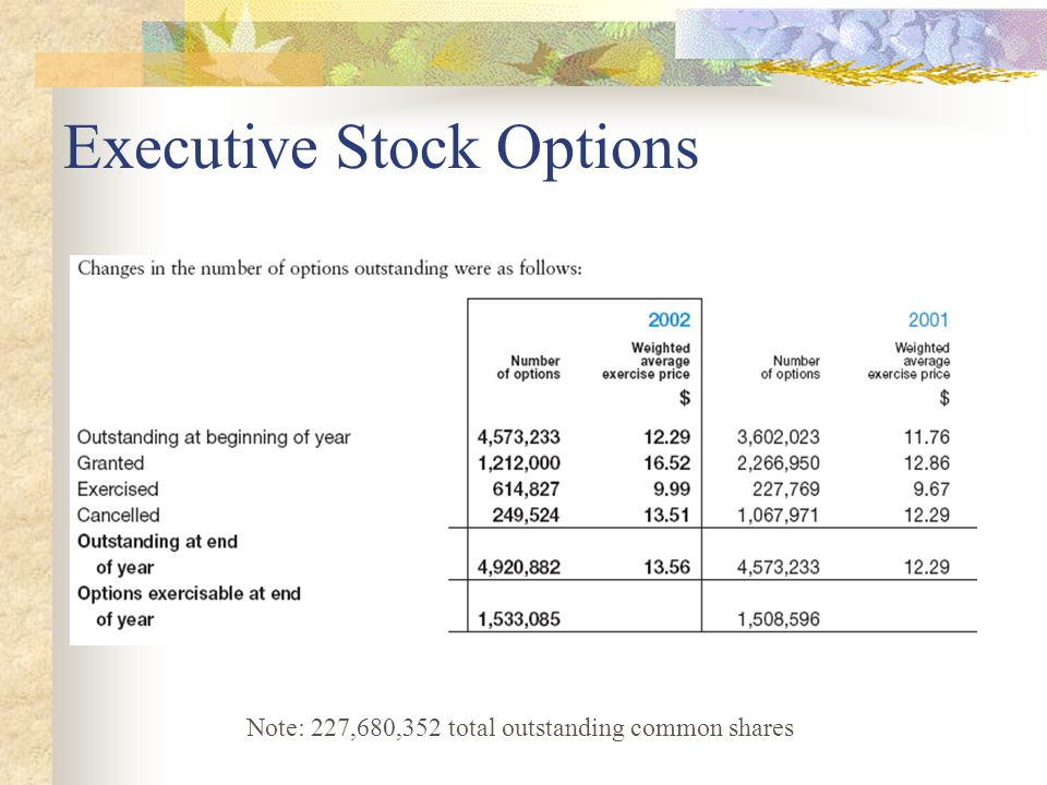 Executive Stock Options Note: 227,680,352 total outstanding common shares