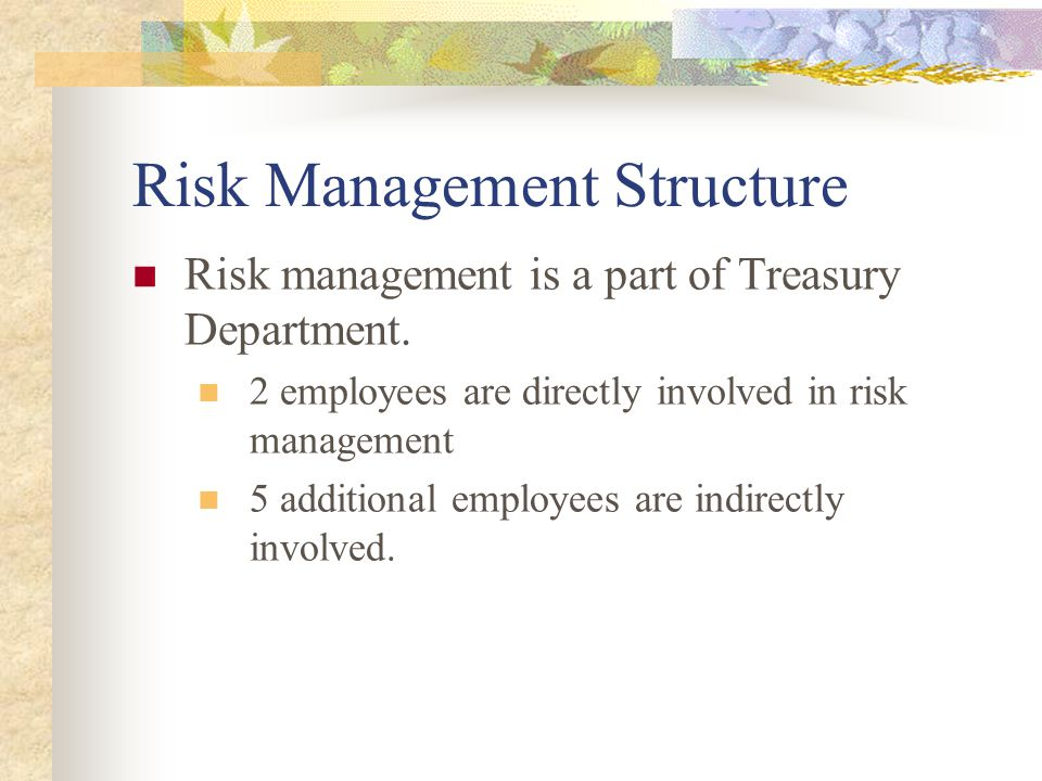 Risk Management Structure Risk management is a part of Treasury Department. 2 employees are directly involved in risk management 5 additional employee
