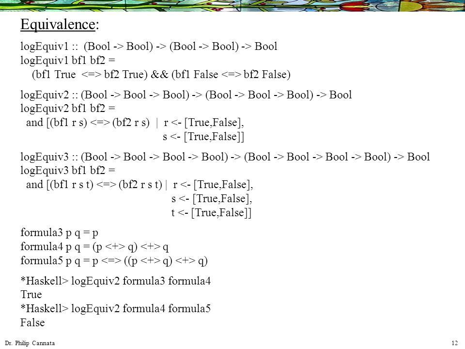 Dr. Philip Cannata 12 Equivalence: logEquiv1 :: (Bool -> Bool) -> (Bool -> Bool) -> Bool logEquiv1 bf1 bf2 = (bf1 True bf2 True) && (bf1 False bf2 Fal