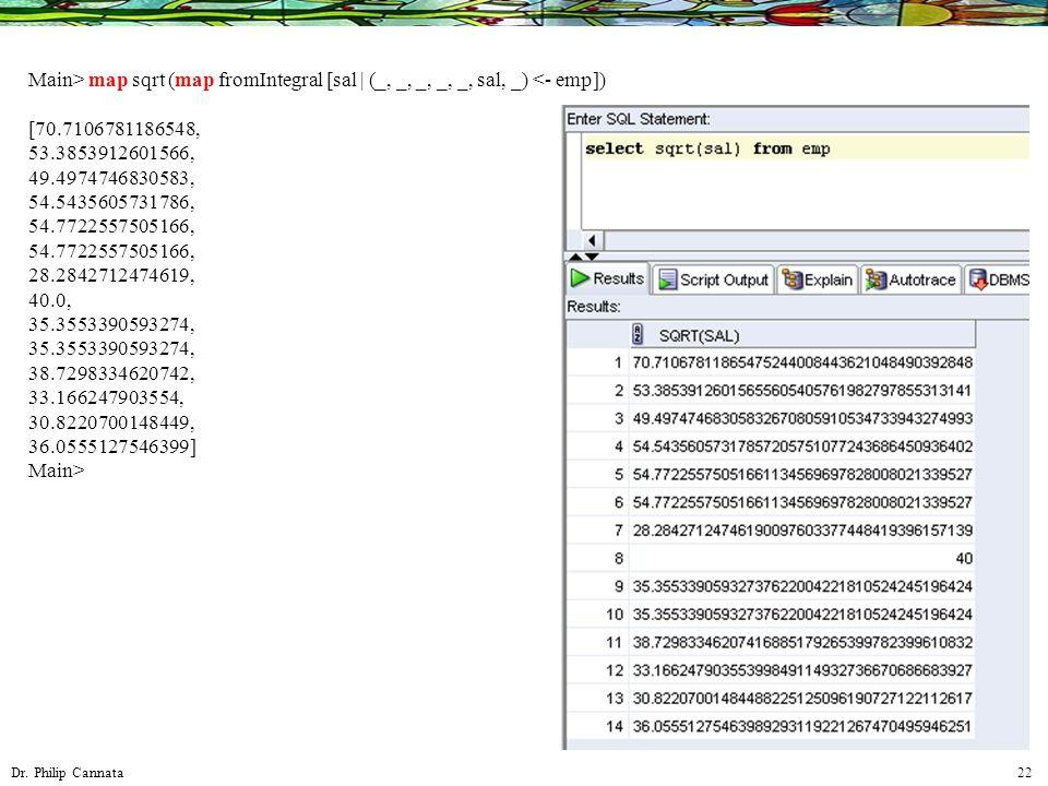 Dr. Philip Cannata 22 Main> map sqrt (map fromIntegral [sal | (_, _, _, _, _, sal, _) <- emp]) [70.7106781186548, 53.3853912601566, 49.4974746830583,