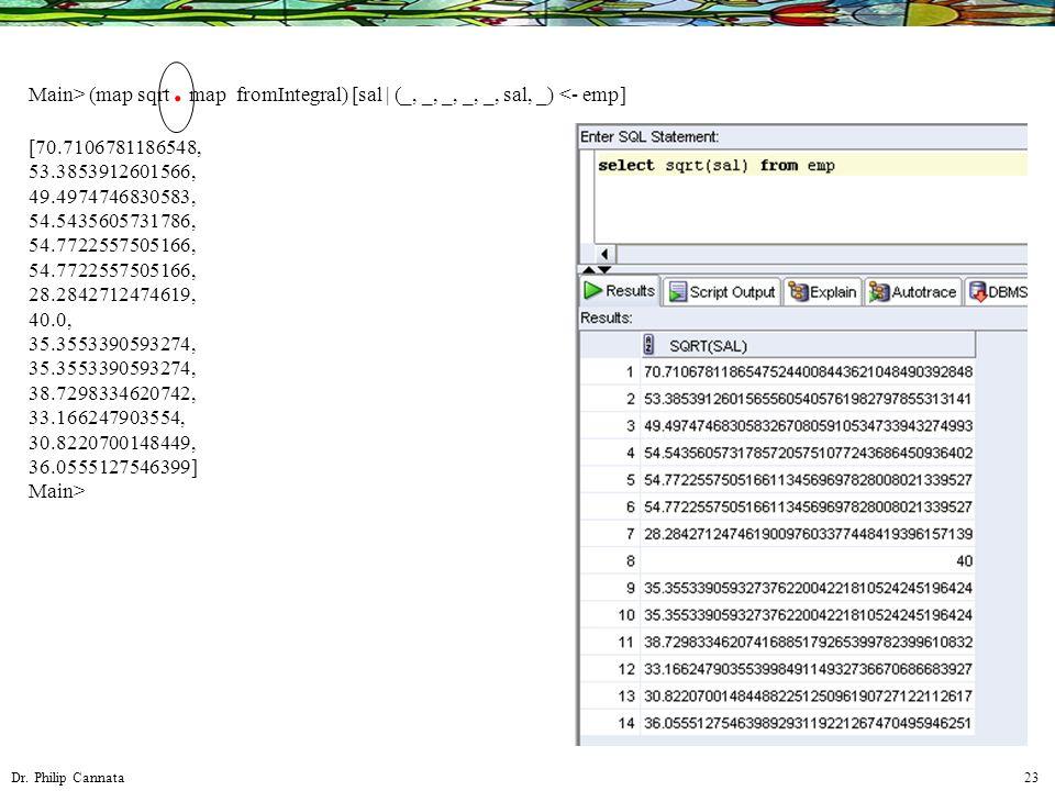 Dr. Philip Cannata 23 Main> (map sqrt. map fromIntegral) [sal | (_, _, _, _, _, sal, _) <- emp] [70.7106781186548, 53.3853912601566, 49.4974746830583,