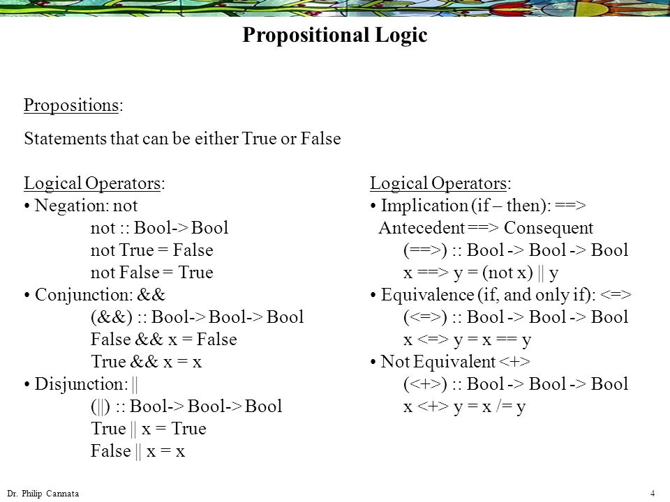 Dr. Philip Cannata 4 Propositions: Statements that can be either True or False Logical Operators: Negation: not not :: Bool-> Bool not True = False no